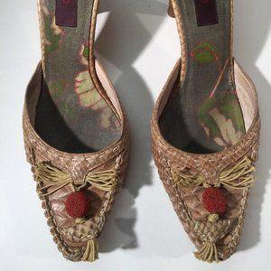 KENZO Tan Leather Mules Heels 39.5